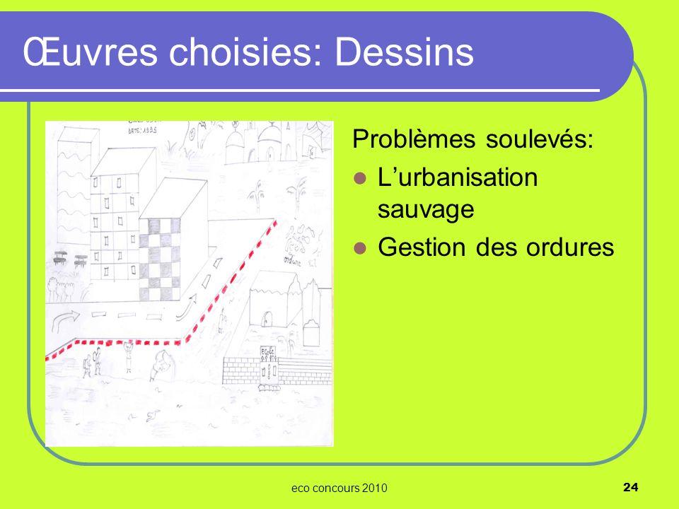 eco concours 201024 Problèmes soulevés: Lurbanisation sauvage Gestion des ordures Œuvres choisies: Dessins