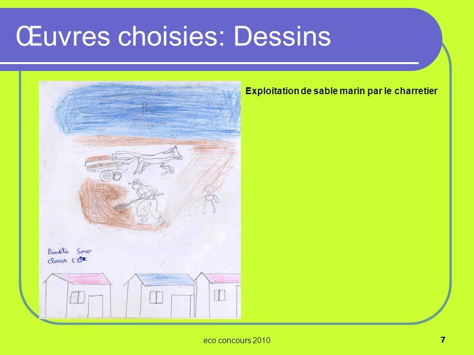 eco concours 20108 Problèmes soulevés: Inondations des maisons Évacuation des ordures ménagères par les charretiers Œuvres choisies: Dessins