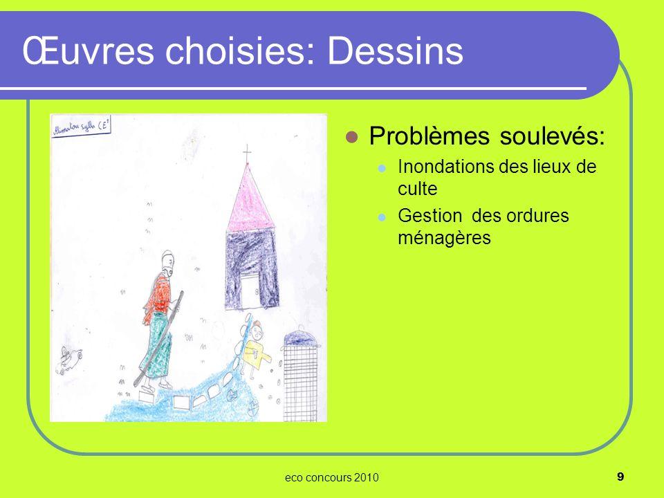 eco concours 201010 Problèmes soulevés: Pollution sonore Pollution atmosphérique Inondations des maisons Œuvres choisies: Dessins