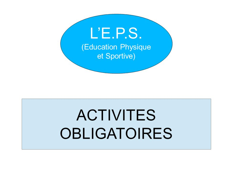 ACTIVITES OBLIGATOIRES LE.P.S. (Education Physique et Sportive)