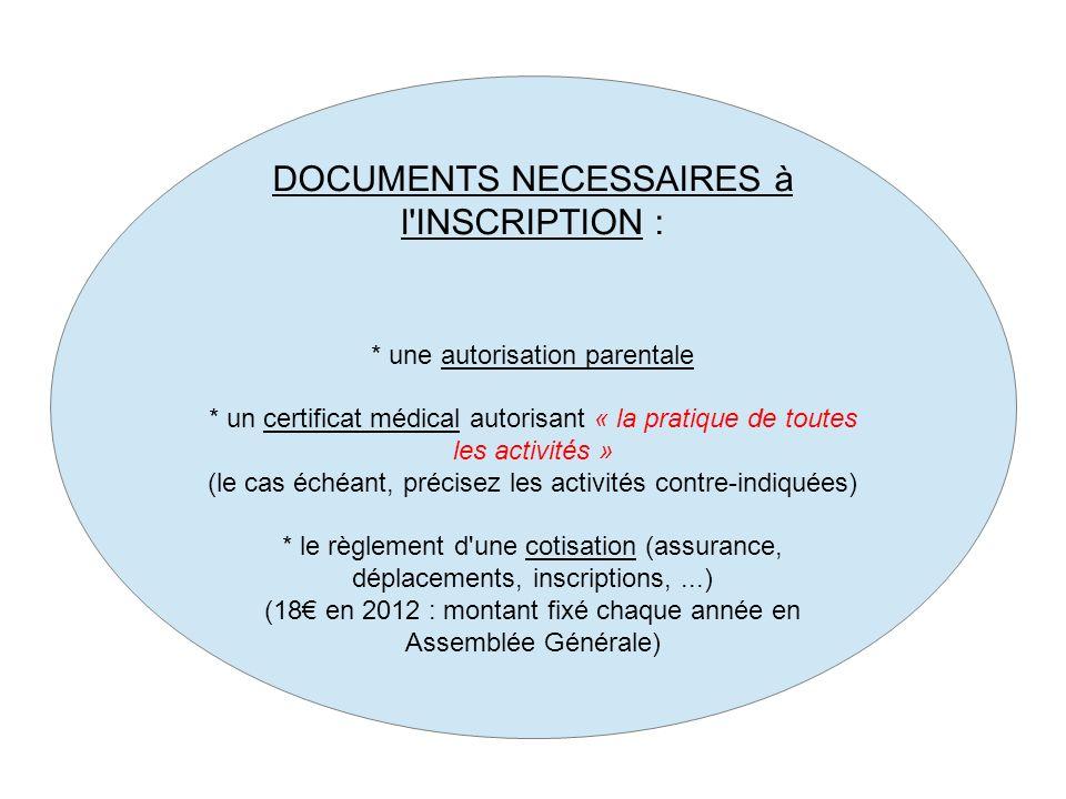 DOCUMENTS NECESSAIRES à l'INSCRIPTION : * une autorisation parentale * un certificat médical autorisant « la pratique de toutes les activités » (le ca