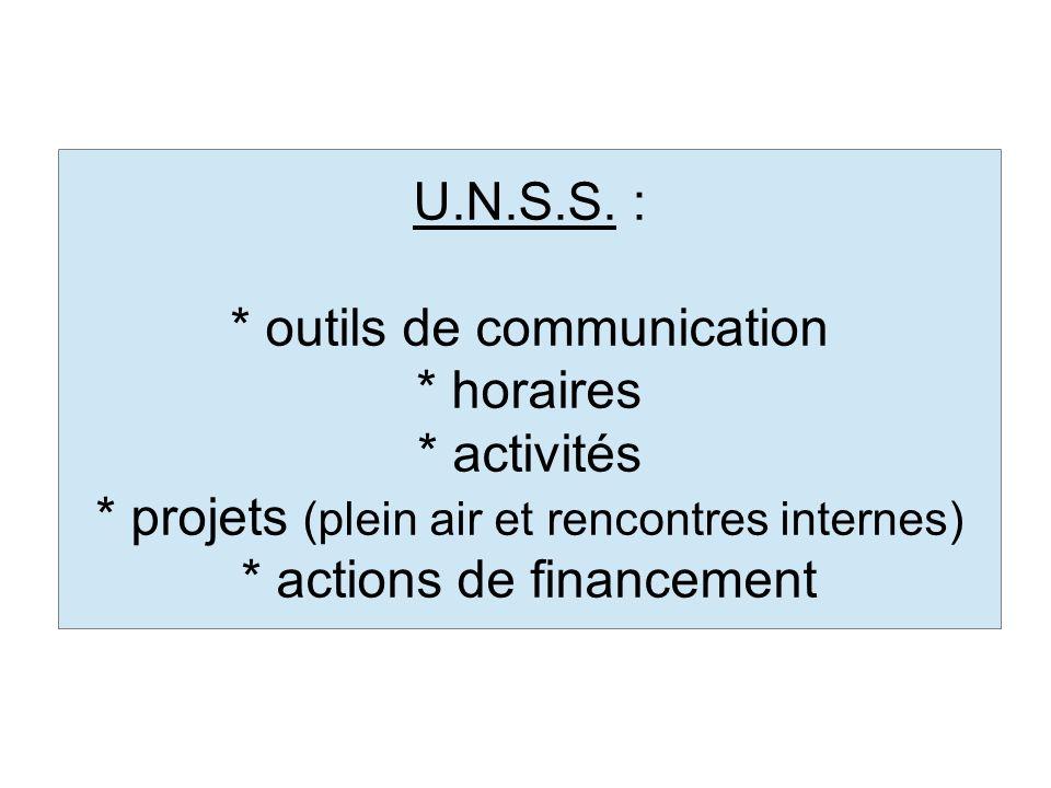 U.N.S.S. : * outils de communication * horaires * activités * projets (plein air et rencontres internes) * actions de financement