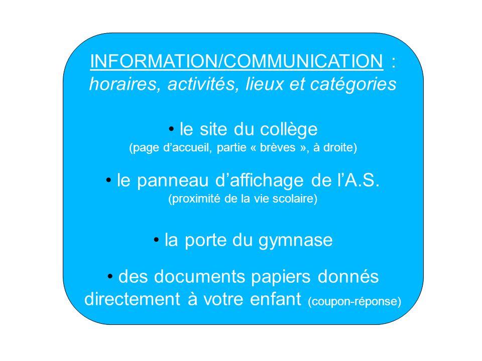 INFORMATION/COMMUNICATION : horaires, activités, lieux et catégories le site du collège (page daccueil, partie « brèves », à droite) le panneau daffic