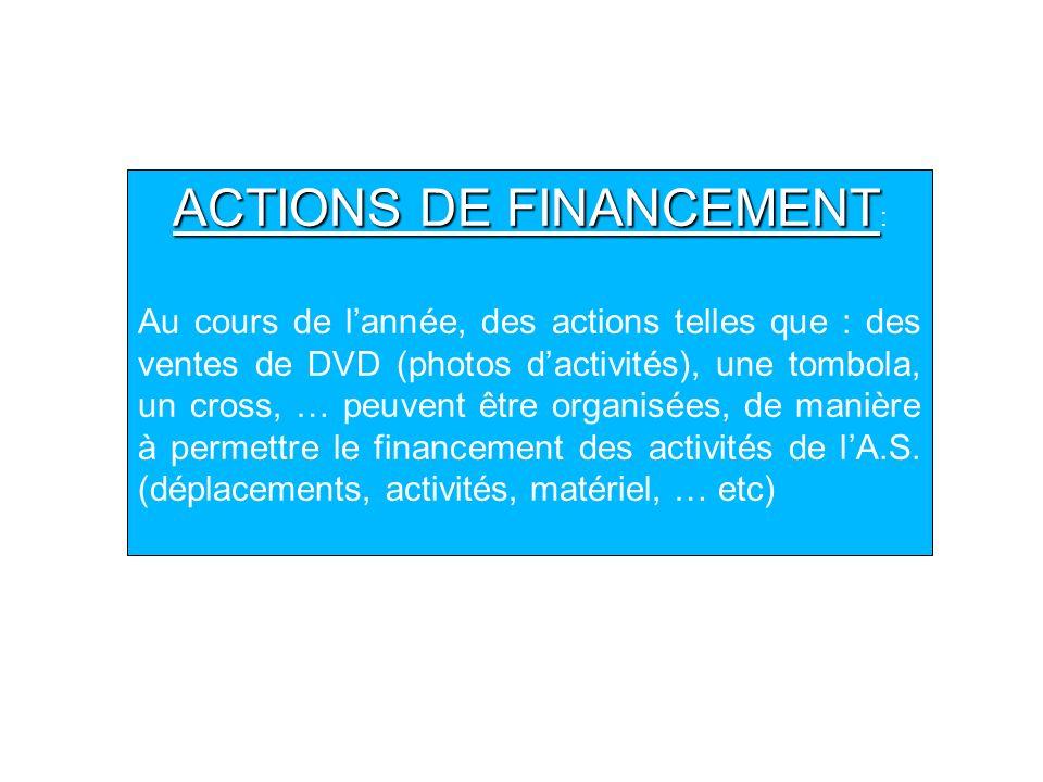 ACTIONS DE FINANCEMENT ACTIONS DE FINANCEMENT : Au cours de lannée, des actions telles que : des ventes de DVD (photos dactivités), une tombola, un cr