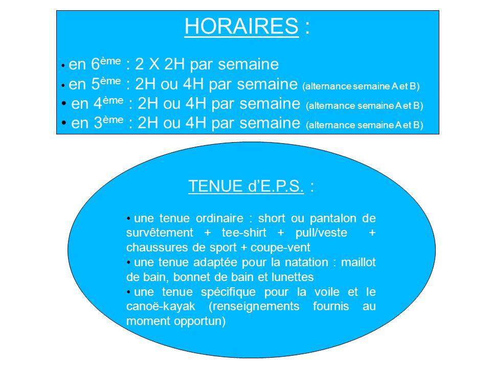 HORAIRES : en 6 ème : 2 X 2H par semaine en 5 ème : 2H ou 4H par semaine (alternance semaine A et B) en 4 ème : 2H ou 4H par semaine (alternance semai