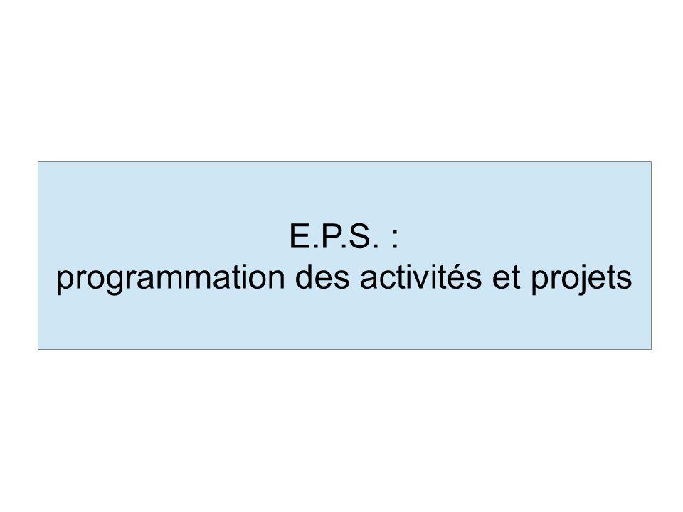 E.P.S. : programmation des activités et projets