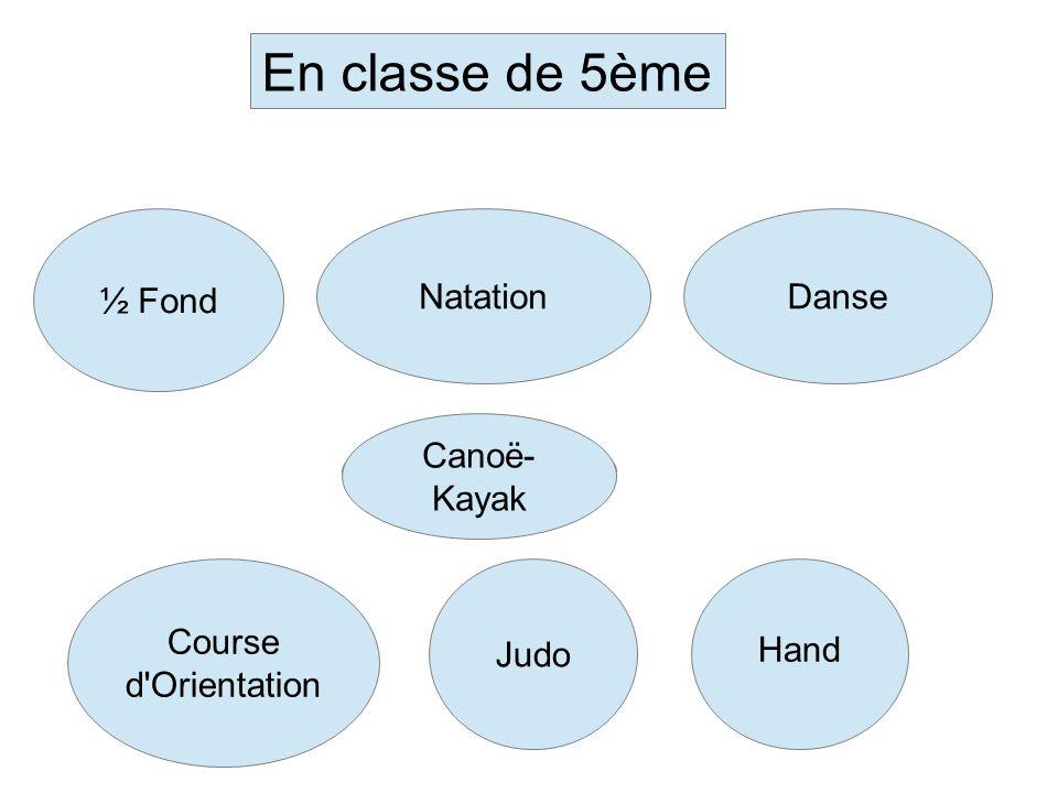 En classe de 5ème ½ Fond NatationDanse Course d'Orientation Judo Hand Canoë- Kayak