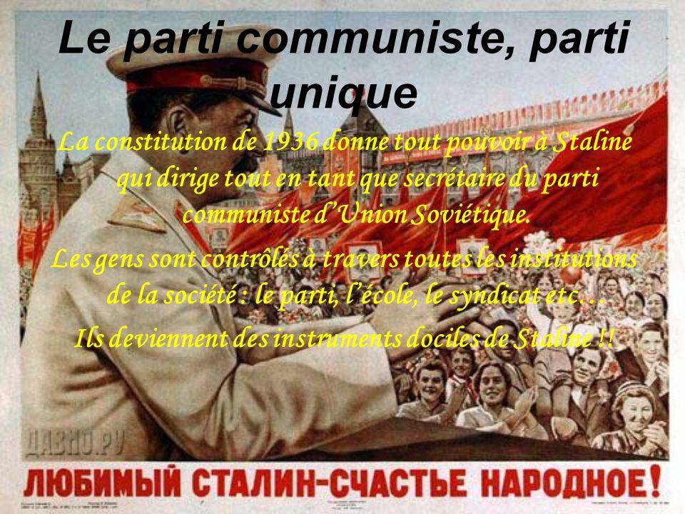 Le parti communiste, parti unique La constitution de 1936 donne tout pouvoir à Staline qui dirige tout en tant que secrétaire du parti communiste dUni