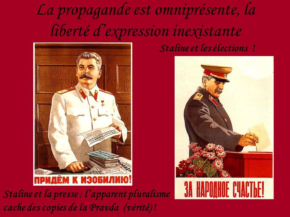 La propagande est omniprésente, la liberté dexpression inexistante Staline et la presse : lapparent pluralisme cache des copies de la Pravda (vérité)