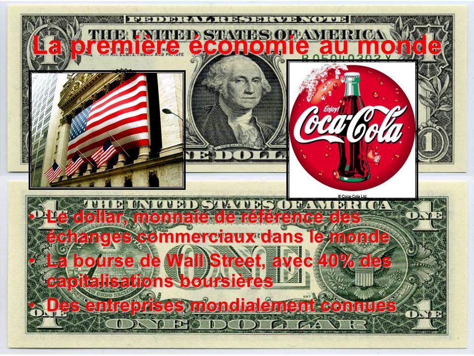 La première économie au monde Le dollar, monnaie de référence des échanges commerciaux dans le mondeLe dollar, monnaie de référence des échanges commerciaux dans le monde La bourse de Wall Street, avec 40% des capitalisations boursièresLa bourse de Wall Street, avec 40% des capitalisations boursières Des entreprises mondialement connuesDes entreprises mondialement connues
