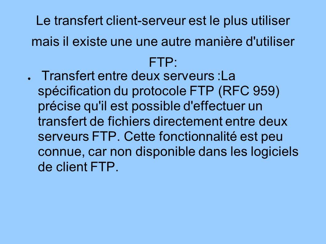 Le transfert client-serveur est le plus utiliser mais il existe une une autre manière d'utiliser FTP: Transfert entre deux serveurs :La spécification