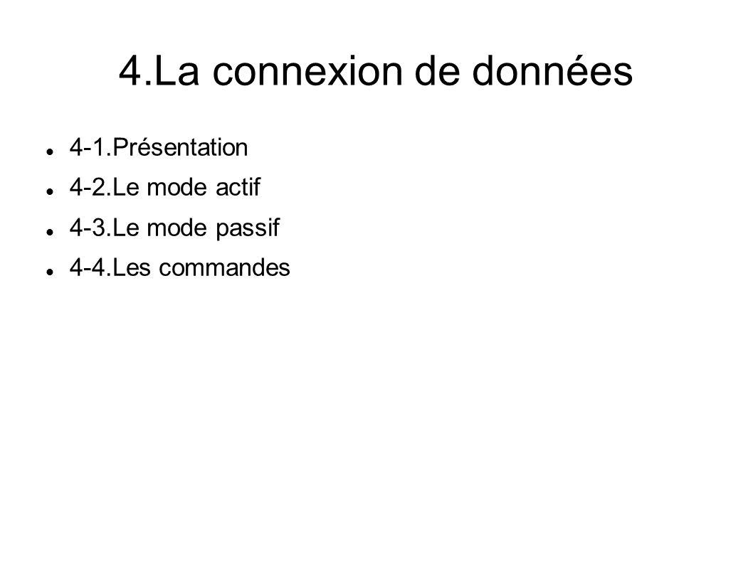 4.La connexion de données 4-1.Présentation 4-2.Le mode actif 4-3.Le mode passif 4-4.Les commandes