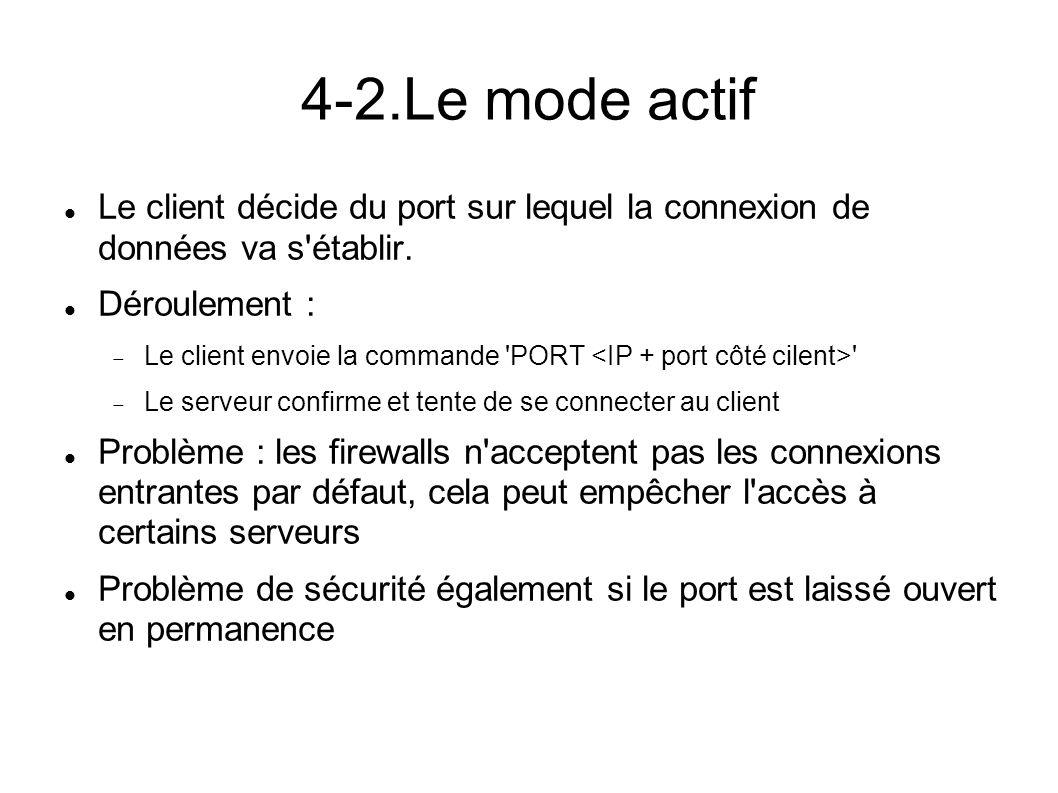 4-2.Le mode actif Le client décide du port sur lequel la connexion de données va s établir.