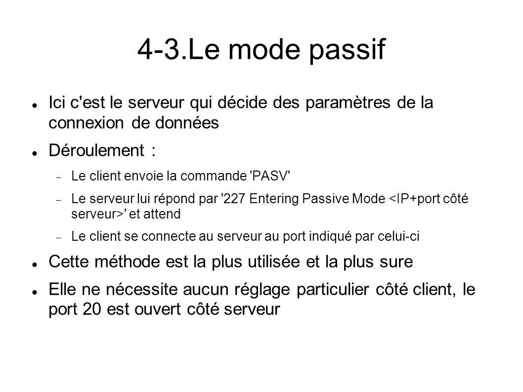 4-4.Les commandes Voici les commandes les plus courantes pour le canal de données : PASV : indique que le client veux utiliser le mode pasif PORT h1,h2,h3,h4,p1,p2 : le client utilise le mode actif, avec Hi l IP client sur 32 bits et Pi le port client sur 16 bits 227 Entering Passive Mode (h1,h2,h3,h4,p1,p2) : le serveur accepte et définit une connexion passive TYPE : définit le format de transfert (binaire ou texte) RETR : demande de réception d un fichier STOR : demande d envoi d un fichier