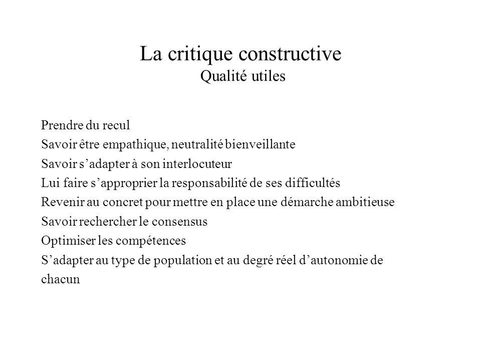 La critique constructive Qualité utiles Prendre du recul Savoir être empathique, neutralité bienveillante Savoir sadapter à son interlocuteur Lui fair