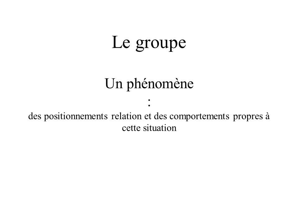Le groupe Un phénomène : des positionnements relation et des comportements propres à cette situation