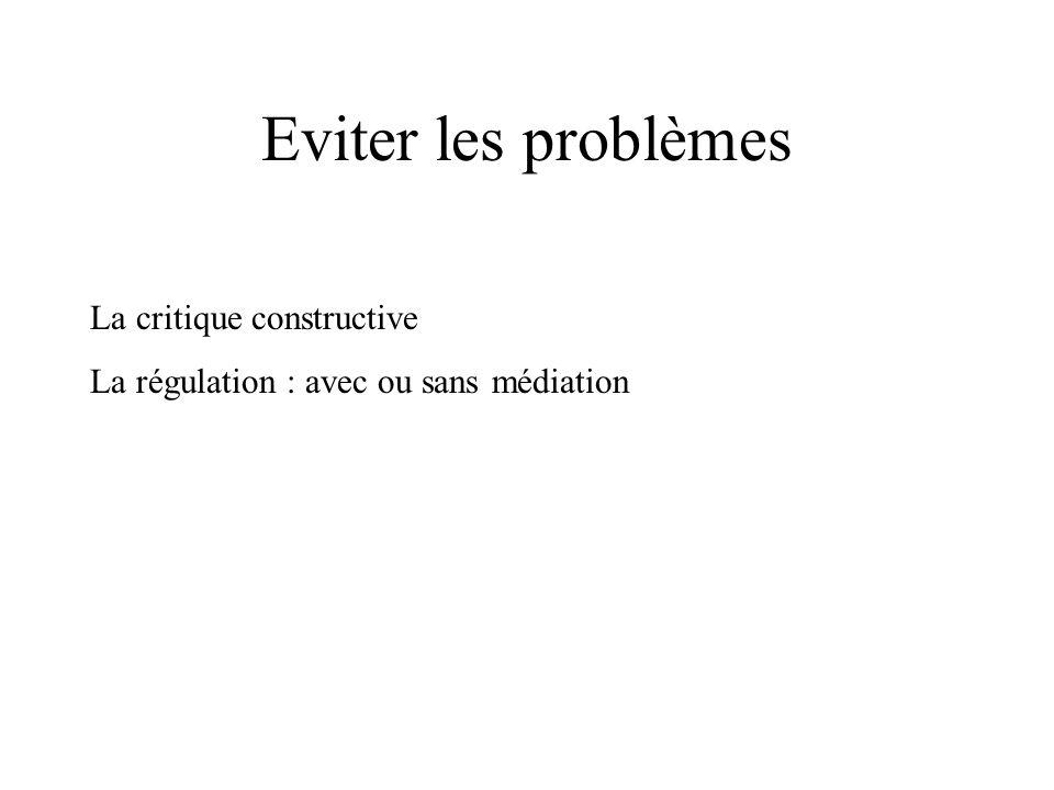 Eviter les problèmes La critique constructive La régulation : avec ou sans médiation