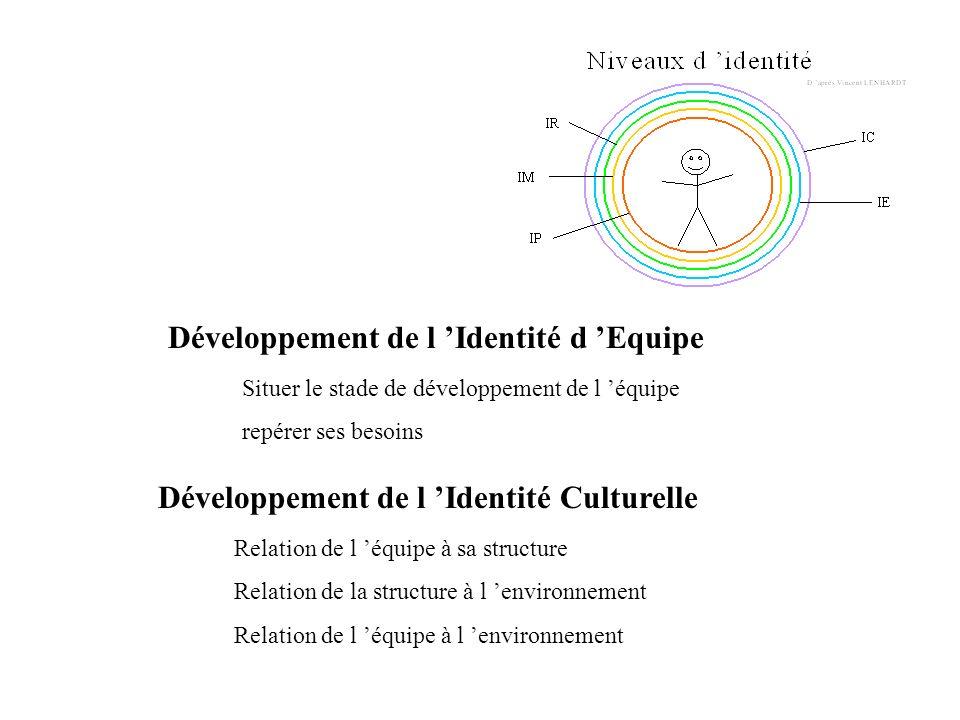 Développement de l Identité d Equipe Situer le stade de développement de l équipe repérer ses besoins Développement de l Identité Culturelle Relation