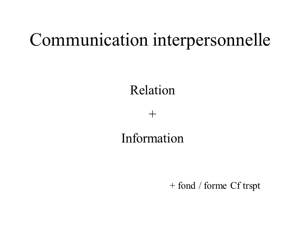 Communication interpersonnelle Relation + Information + fond / forme Cf trspt