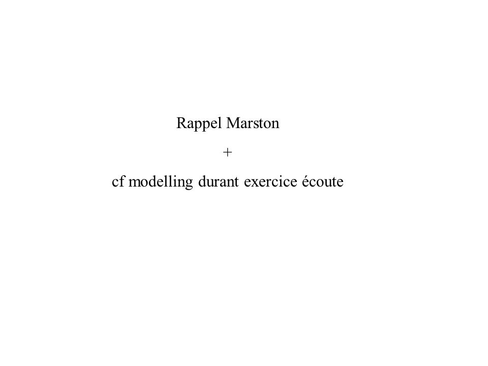 Rappel Marston + cf modelling durant exercice écoute