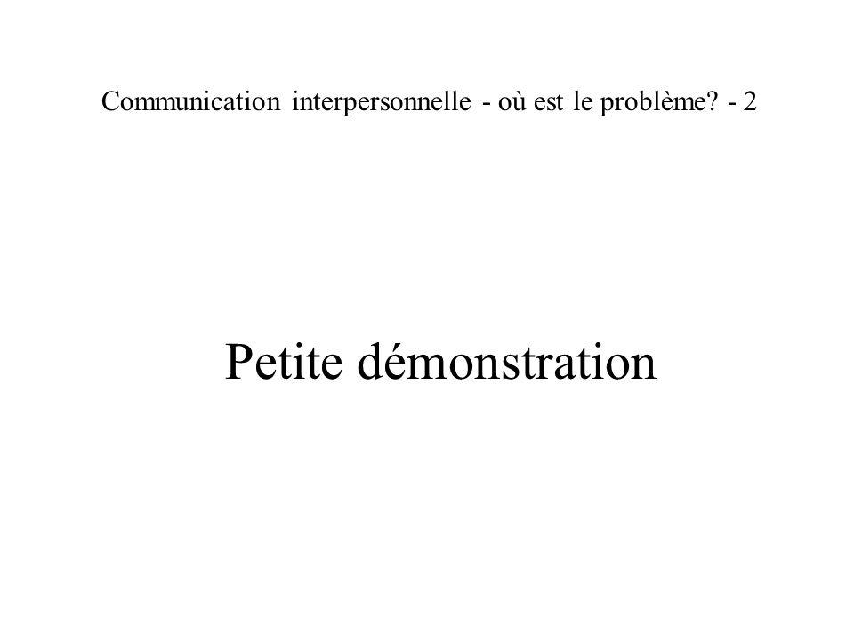 Communication interpersonnelle - où est le problème? - 3