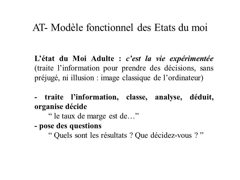 AT- Modèle fonctionnel des Etats du moi Létat du Moi Adulte : cest la vie expérimentée (traite linformation pour prendre des décisions, sans préjugé,
