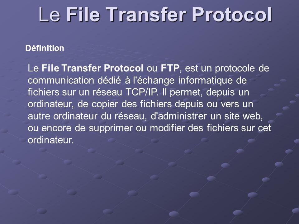Le File Transfer Protocol Définition Le File Transfer Protocol ou FTP, est un protocole de communication dédié à l'échange informatique de fichiers su