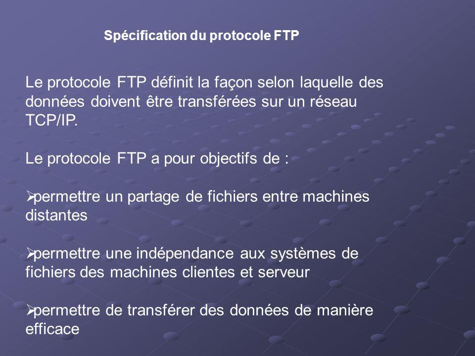 Spécification du protocole FTP Le protocole FTP définit la façon selon laquelle des données doivent être transférées sur un réseau TCP/IP. Le protocol