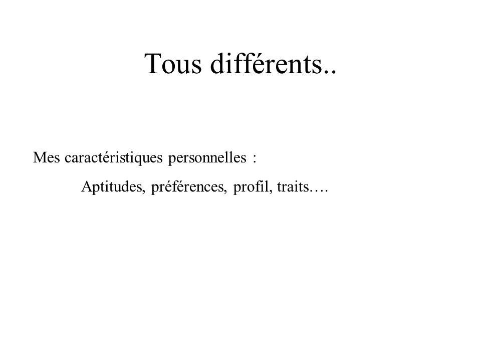 Tous différents.. Mes caractéristiques personnelles : Aptitudes, préférences, profil, traits….