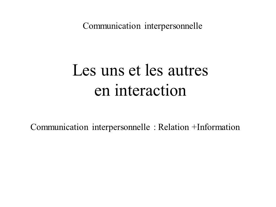 Les uns et les autres en interaction Communication interpersonnelle Communication interpersonnelle : Relation +Information