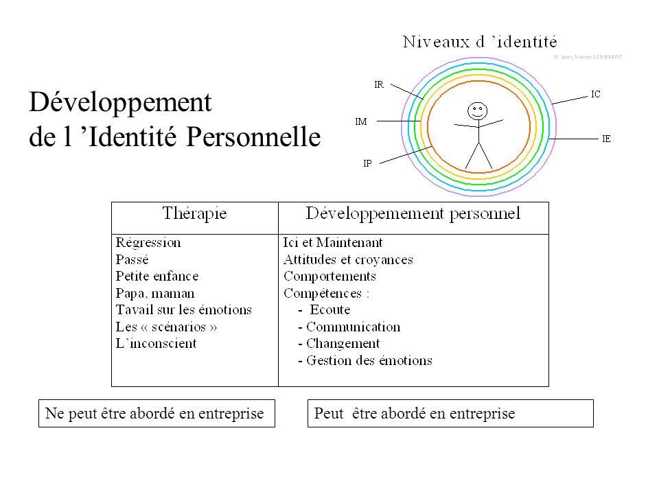 Développement de l Identité Personnelle Ne peut être abordé en entreprisePeut être abordé en entreprise