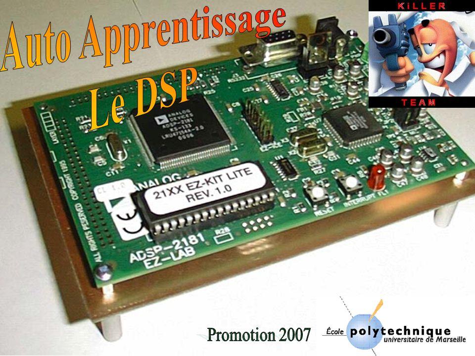 Introduction I Quest ce quun DSP Quest ce quun DSP II Différences entre un microprocesseur et un DSP Différences entre un microprocesseur et un DSP III Architecture de Von Neuman et de Harvard Architecture de Von Neuman et de Harvard IV Types et formats de données manipulés par les DSP Types et formats de données manipulés par les DSP V Performances des DSPPerformances des DSP VI Mesures et outils de développement Mesures et outils de développement VII Structure DSPStructure DSP VIII Les DSP aujourdhuiLes DSP aujourdhui Conclusion