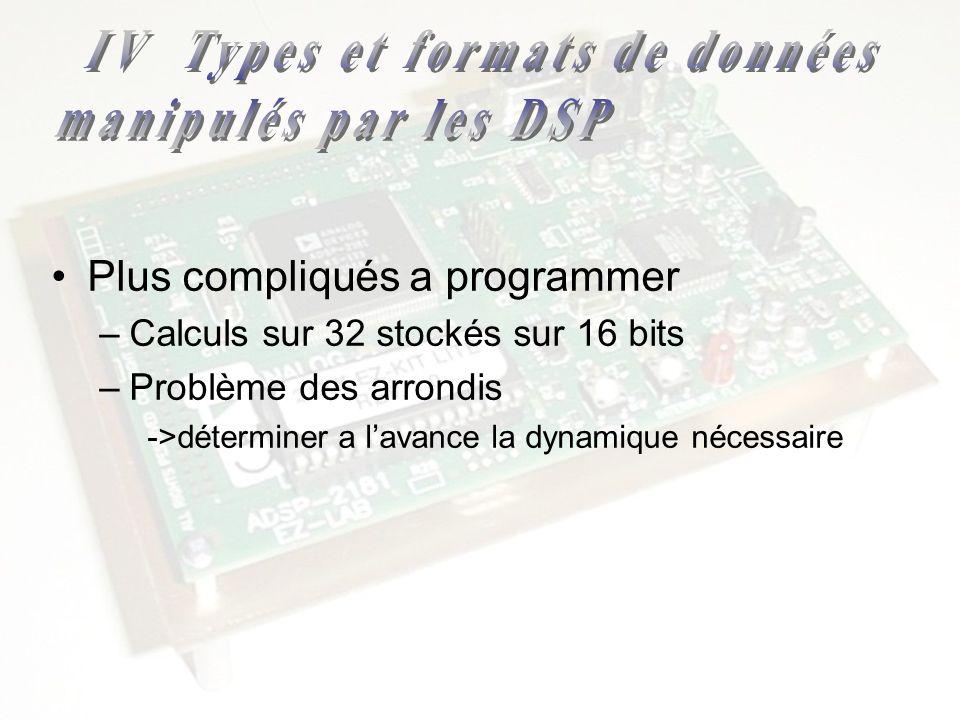 Plus compliqués a programmer –Calculs sur 32 stockés sur 16 bits –Problème des arrondis ->déterminer a lavance la dynamique nécessaire