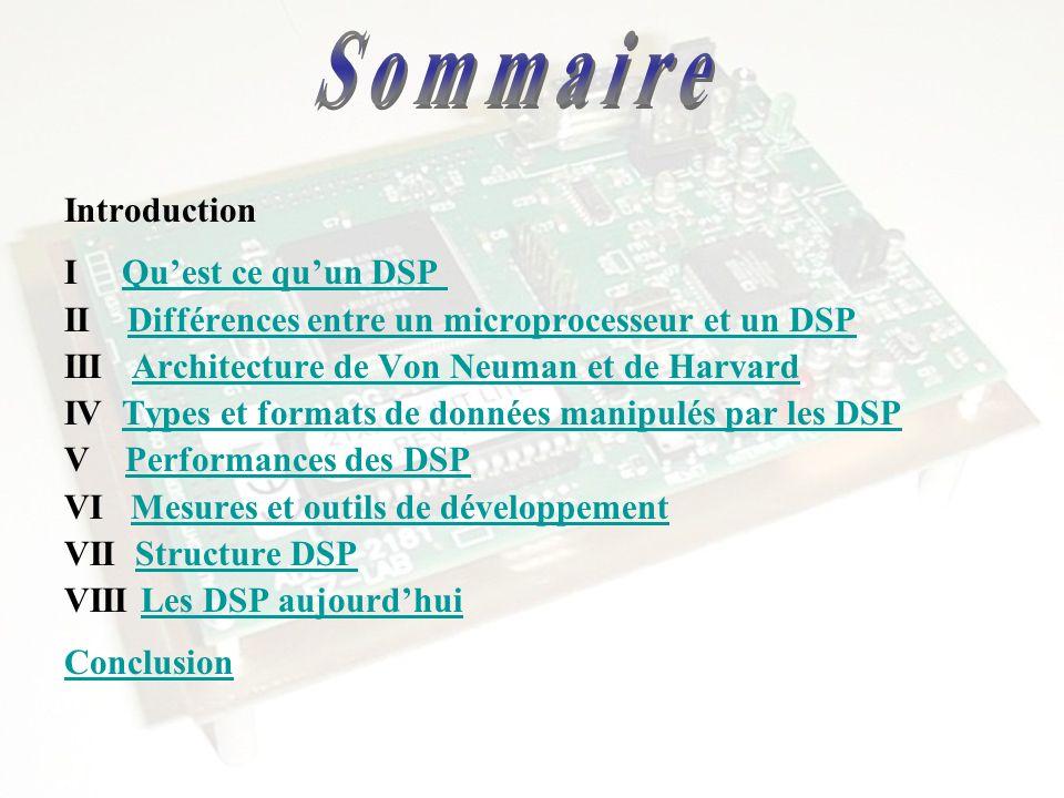 Introduction I Quest ce quun DSP Quest ce quun DSP II Différences entre un microprocesseur et un DSP Différences entre un microprocesseur et un DSP II