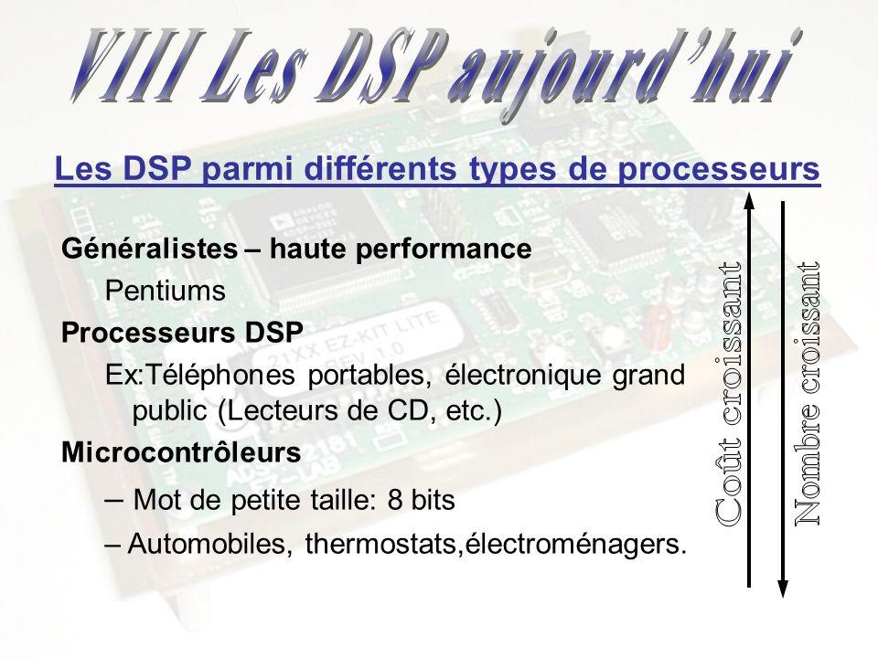 Généralistes – haute performance Pentiums Processeurs DSP Ex:Téléphones portables, électronique grand public (Lecteurs de CD, etc.) Microcontrôleurs –