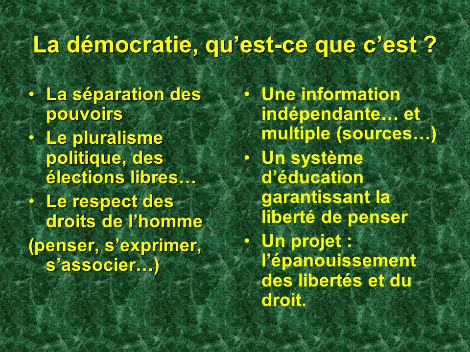 La démocratie, quest-ce que cest ? La séparation des pouvoirsLa séparation des pouvoirs Le pluralisme politique, des élections libres…Le pluralisme po