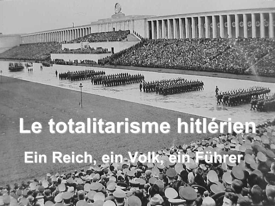 Le système totalitaire Le totalitarisme hitlérien Un homme concentrant tout pouvoir Le culte de la personnalité La propagande Lembrigadement des masses Le projet de société Le parti unique La violence, outil de pouvoir