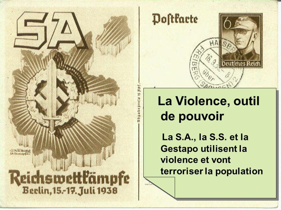 La Violence, outil de pouvoir La S.A., la S.S. et la Gestapo utilisent la violence et vont terroriser la population