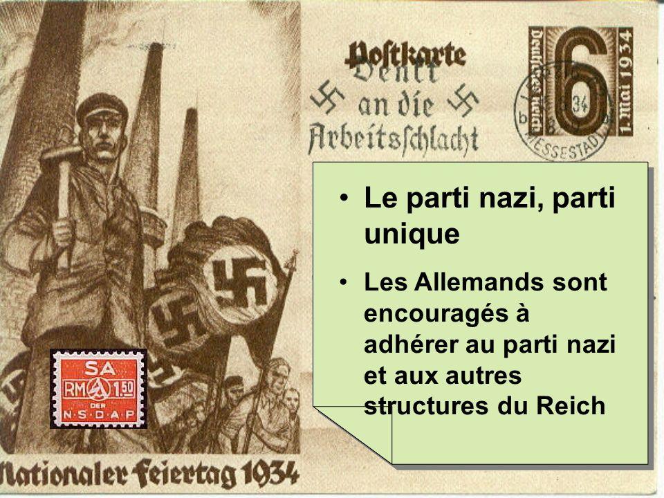 Le parti nazi, parti unique Les Allemands sont encouragés à adhérer au parti nazi et aux autres structures du Reich