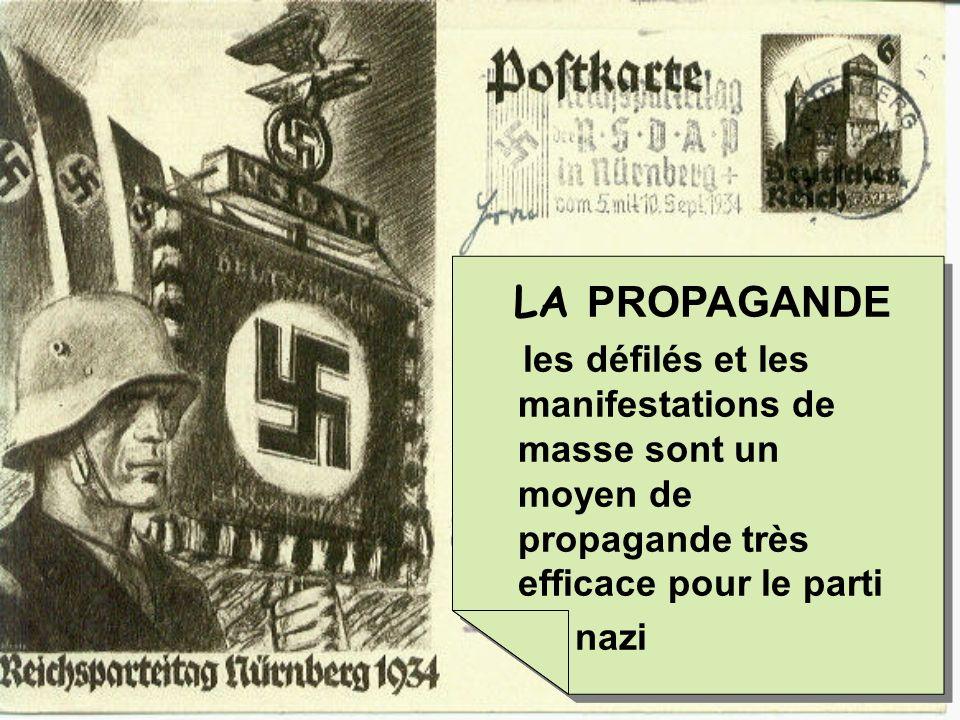 LA PROPAGANDE les défilés et les manifestations de masse sont un moyen de propagande très efficace pour le parti nazi LA PROPAGANDE les défilés et les