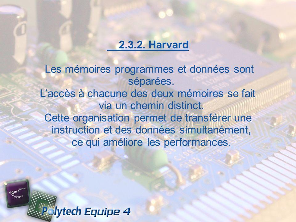 2.3.2. Harvard Les mémoires programmes et données sont séparées. Laccès à chacune des deux mémoires se fait via un chemin distinct. Cette organisation