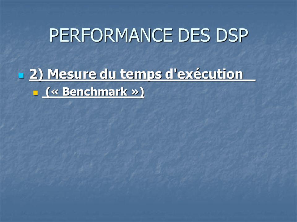 PERFORMANCE DES DSP 2) Mesure du temps d exécution 2) Mesure du temps d exécution (« Benchmark ») (« Benchmark »)