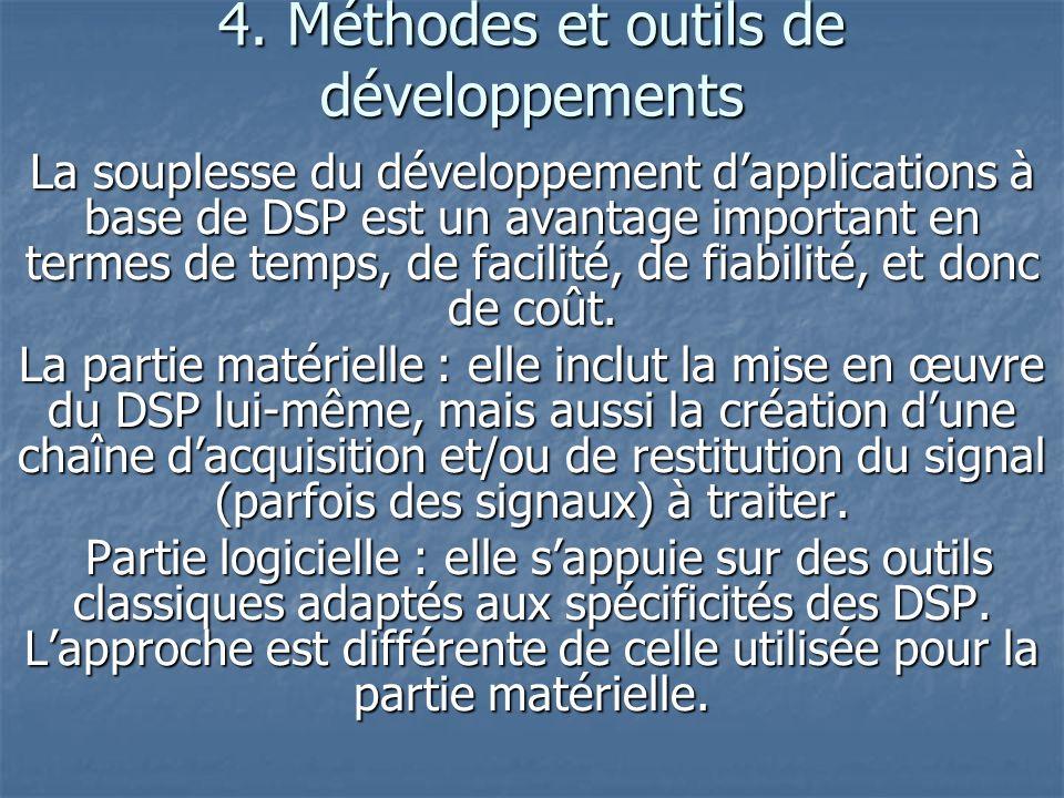 4. Méthodes et outils de développements La souplesse du développement dapplications à base de DSP est un avantage important en termes de temps, de fac
