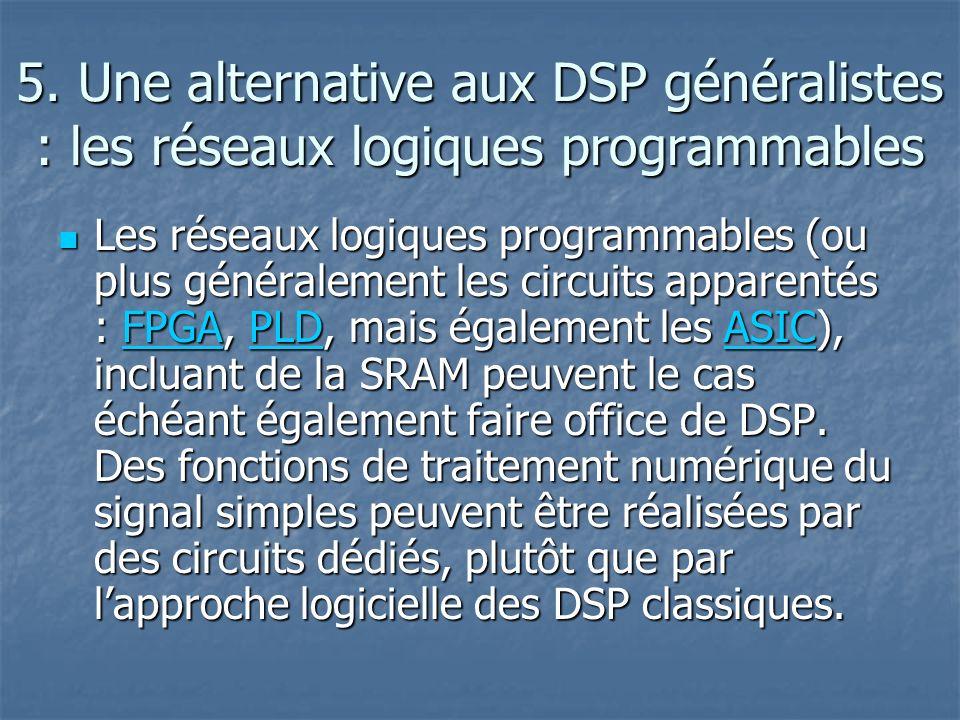 5. Une alternative aux DSP généralistes : les réseaux logiques programmables Les réseaux logiques programmables (ou plus généralement les circuits app