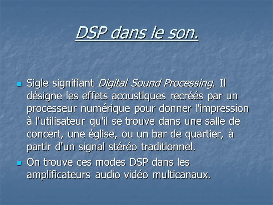 DSP dans le son.Sigle signifiant Digital Sound Processing.