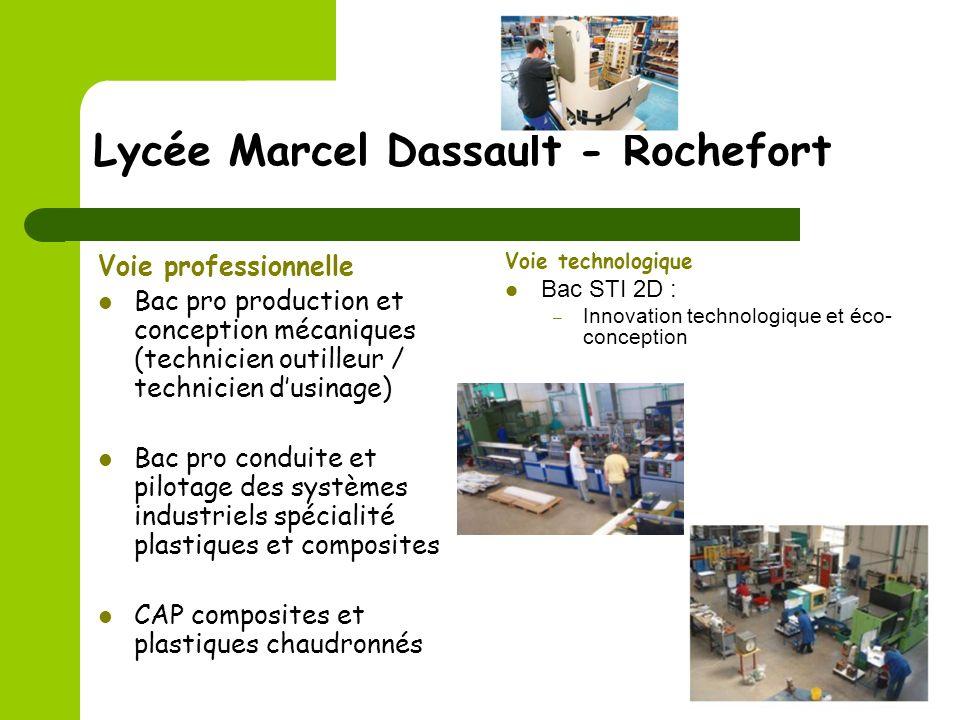 Lycée Marcel Dassault - Rochefort Voie professionnelle Bac pro production et conception mécaniques (technicien outilleur / technicien dusinage) Bac pr