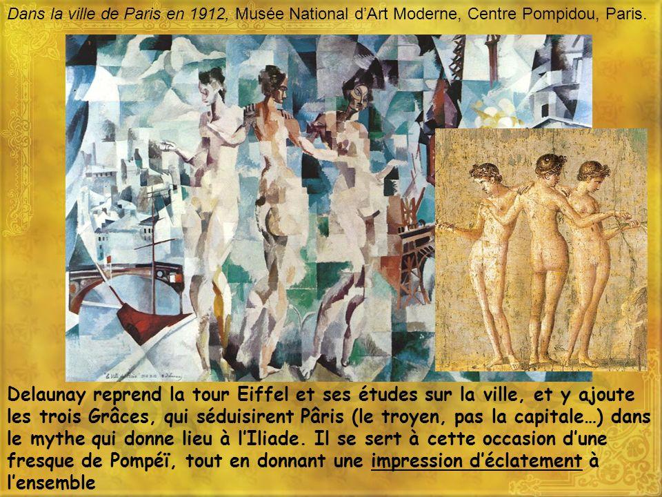 Dans la ville de Paris en 1912, Musée National dArt Moderne, Centre Pompidou, Paris. Delaunay reprend la tour Eiffel et ses études sur la ville, et y
