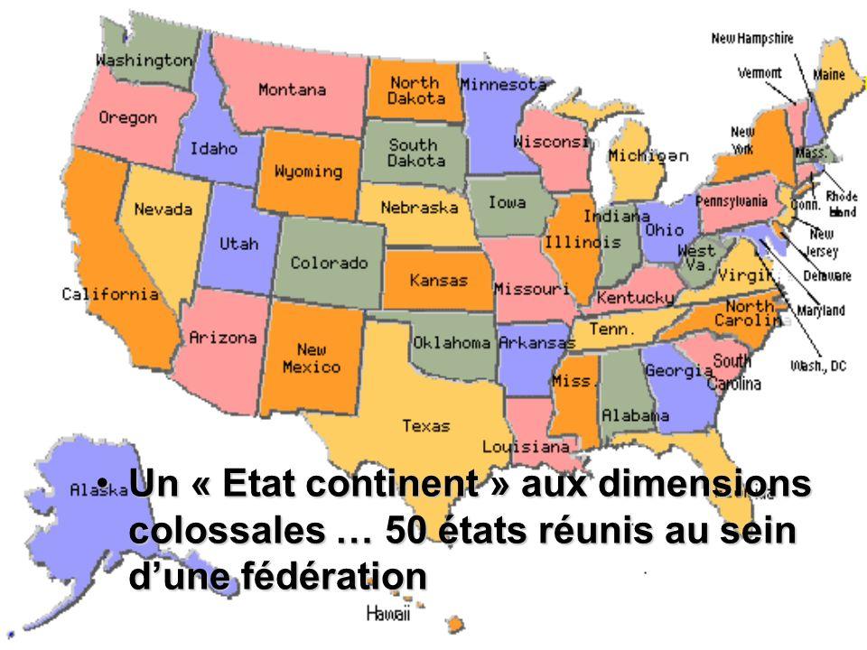 Un « Etat continent » aux dimensions colossales … 50 états réunis au sein dune fédérationUn « Etat continent » aux dimensions colossales … 50 états ré