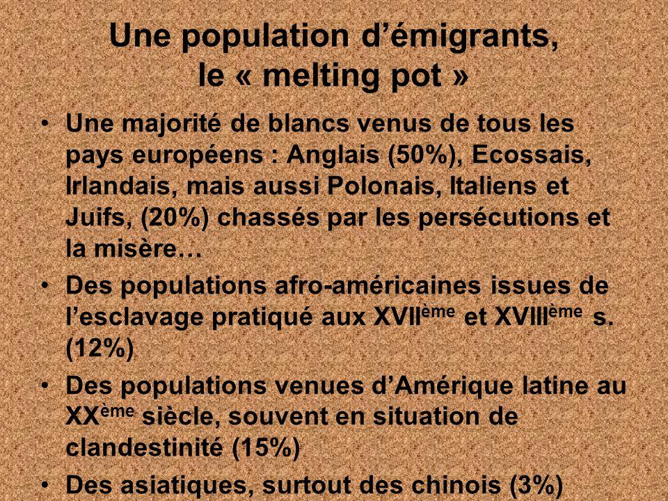 Une population démigrants, le « melting pot » Une majorité de blancs venus de tous les pays européens : Anglais (50%), Ecossais, Irlandais, mais aussi