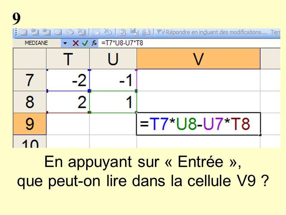 9 En appuyant sur « Entrée », que peut-on lire dans la cellule V9